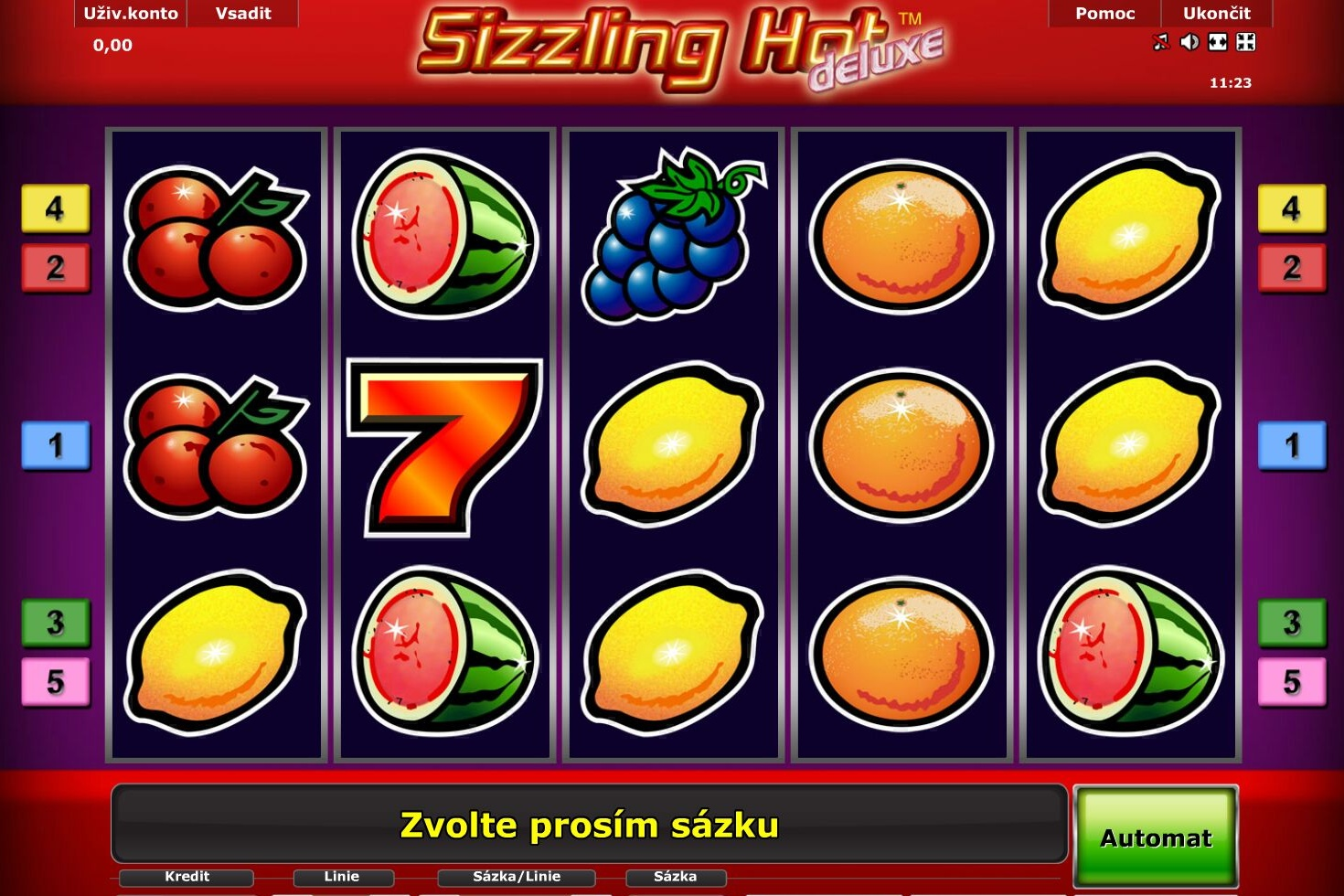 sizzling hot online game zdarma