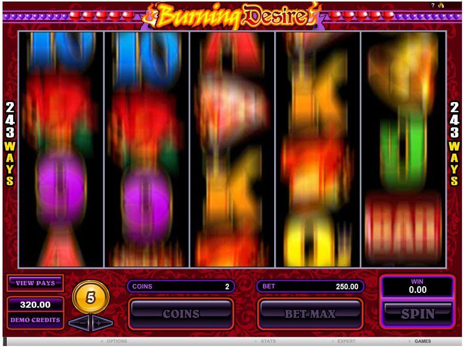Roztočené válce výherního automatu Burning Desire