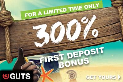 Poslední den na 300procentní First Deposit Bonus u Guts Casino