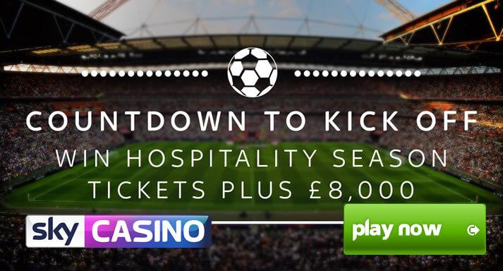 Sky Casino rozjíždí soutěž o lístky Countdown to Kick Off