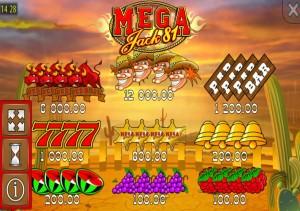 Tabulka výher online automat Mega Jack 81 zdarma