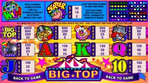 Tabulka výher online automatu Big Top