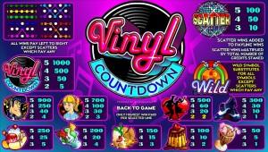 Hrací online automat Vinyl Countdown - tabulka výher