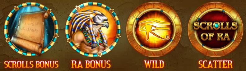 Bonusové symboly ze hry Scrolls of Ra HD online