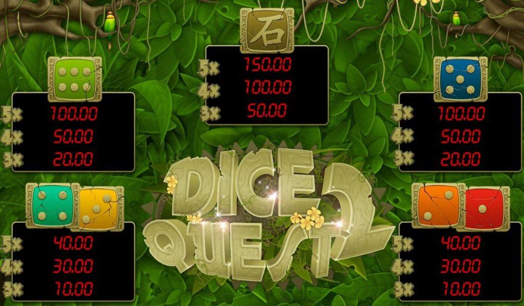 Herní online automat Dice Quest 2 - tabulka výher