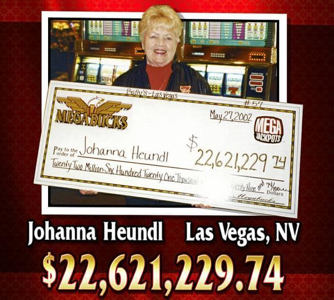 Johanna Heundlová, která díky progresívnímu jackpotu Megabucks získala 22,5 milionu dolarů